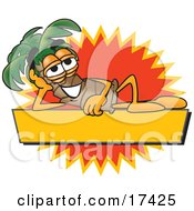 Clipart Picture Of A Palm Tree Mascot Cartoon Character Over A Blank Yellow Business Label With An Orange Burst by Toons4Biz