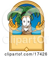 Clipart Picture Of A Palm Tree Mascot Cartoon Character On A Blank Tan Label by Toons4Biz