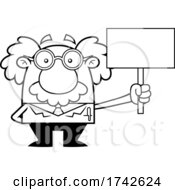 Science Professor Albert Einstein Character Holding A Sign