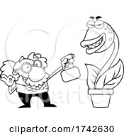 Science Professor Albert Einstein Character Watering A Carnivorous Plant