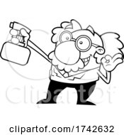 Science Professor Albert Einstein Character Holding A Spray Bottle