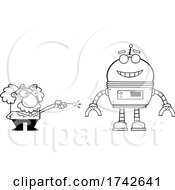 Science Professor Albert Einstein Character Operating A Robot