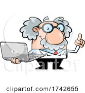 Science Professor Albert Einstein Character Holding A Laptop