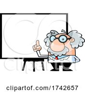 Science Professor Albert Einstein Character Holding Up A Finger By A Whiteboard