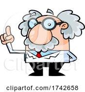 Science Professor Albert Einstein Character Holding Up A Finger