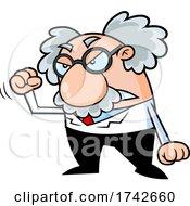 Science Professor Albert Einstein Character Holding Up A Fist