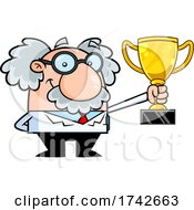 Science Professor Albert Einstein Character Holding A Trophy