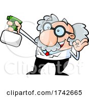 Science Professor Albert Einstein Character Holding A Spray Bottle