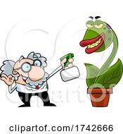 Science Professor Albert Einstein Character Watering A Carnivorous Plant