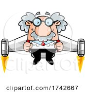 Science Professor Albert Einstein Character Using A Jetpack