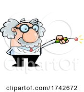 Science Professor Albert Einstein Character Using A Remote