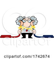 Science Professor Albert Einstein Character Showing Electricity Between Cables