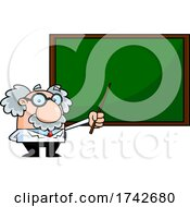 Science Professor Albert Einstein Character Holding A Pointer To A Chalkboard