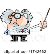 Science Professor Albert Einstein Character Holding A Pointer