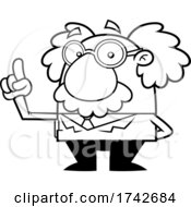Science Professor Albert Einstein Character Holding Up A Finger