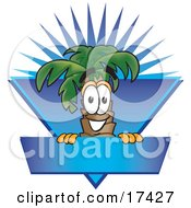Clipart Picture Of A Palm Tree Mascot Cartoon Character Over A Blank Blue Business Label With A Burst by Toons4Biz