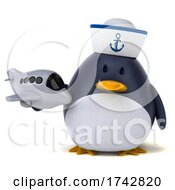 3d Chubby Penguin On A White Background