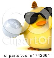 3d Yellow Bird On A White Background