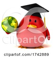 Poster, Art Print Of 3d Red Bird On A White Background