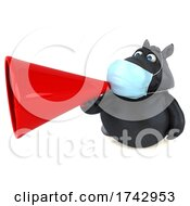 3d Black Horse Wearing A Mask On A White Background