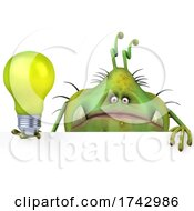Poster, Art Print Of 3d Green Germ Virus On A White Background