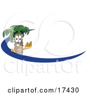 Clipart Picture Of A Palm Tree Mascot Cartoon Character Waving And Standing Behind A Blue Dash On An Employee Nametag Or Business Logo by Toons4Biz