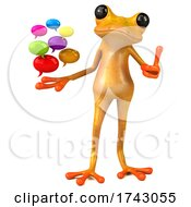 3d Yellow Frog On A White Background