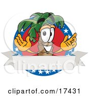 Clipart Picture Of A Palm Tree Mascot Cartoon Character On An American Business Logo by Toons4Biz