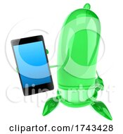 3d Green Condom Character On A White Background