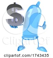 3d Blue Condom Character On A White Background