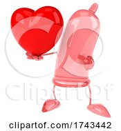 3d Pink Condom Character On A White Background