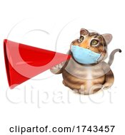 3d Tabby Cat Wearing A Mask On A White Background