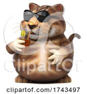 Poster, Art Print Of 3d Tabby Kitty Cat On A White Background