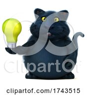 Poster, Art Print Of 3d Black Kitty Cat On A White Background