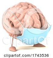 3d Brain Character Wearing A Mask On A White Background