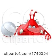 Poster, Art Print Of 3d Red Germ Virus On A White Background
