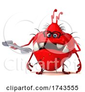 3d Red Germ Virus On A White Background