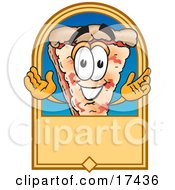 Clipart Picture Of A Slice Of Pizza Mascot Cartoon Character On A Blank Tan Label Or Sign