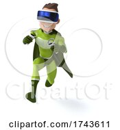 3d White Male Green Super Hero On A White Background