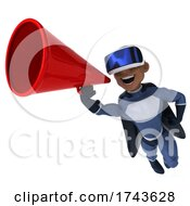 3d Young Black Male Super Hero Wearing VR Goggles On A White Background