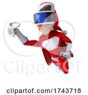 3d White Male Super Hero Christmas Santa On A White Background