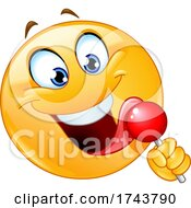 Poster, Art Print Of Yellow Emoticon Smiley Emoji Face Licking A Lollipop