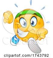 Poster, Art Print Of Yellow Emoticon Smiley Emoji Face Running