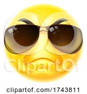 Poster, Art Print Of Tough Cartoon Emoji Emoticon Face In Sunglasses
