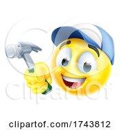 Poster, Art Print Of Handyman Cartoon Emoji Emoticon Face With Hammer