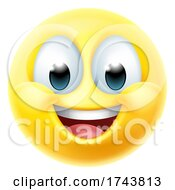 Poster, Art Print Of Happy Smiling Cartoon Emoji Emoticon Face Icon