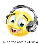 Poster, Art Print Of Cartoon Emoticon Face Icon With Music Headphones
