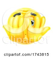 Poster, Art Print Of Cartoon Emoticon Face Icon Hiding Behind Hands