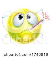 Poster, Art Print Of Sick Ill Thermometer Cartoon Emoji Emoticon Face