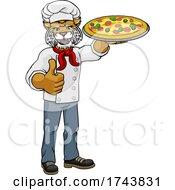 Wildcat Pizza Chef Cartoon Restaurant Mascot by AtStockIllustration